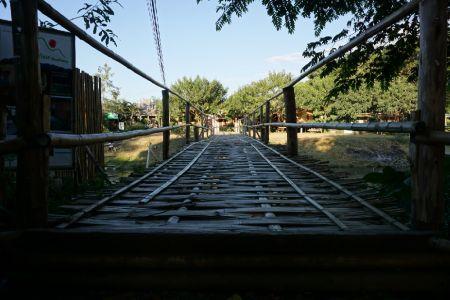Traditionele bamboo brug
